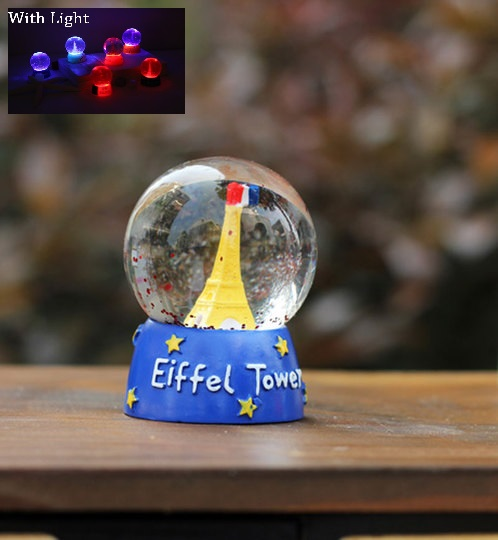 Handmade Paris Eiffel Tower Crystal Ball With LIGHT Ornament YELLOW