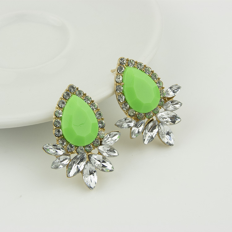 Korean Candy Colored Gemstone Stud Earrings GREEN