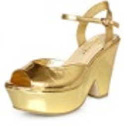 Western Leather Rome High-Heel Shoes GOLD