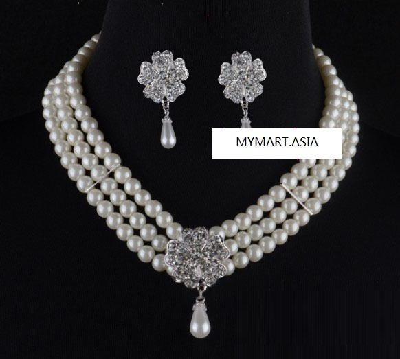 Three Layer Pearl Daisy Diamond Earring Clip Necklace