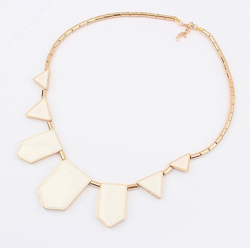 Korea Fashion Geometric Necklace WHITE
