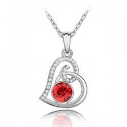 Austrian Crystal Love Heart-Shaped Necklace RED