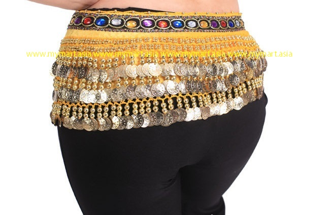 Belly Dance 248Gold Coins Waist Chain Waist Belt YELLOW