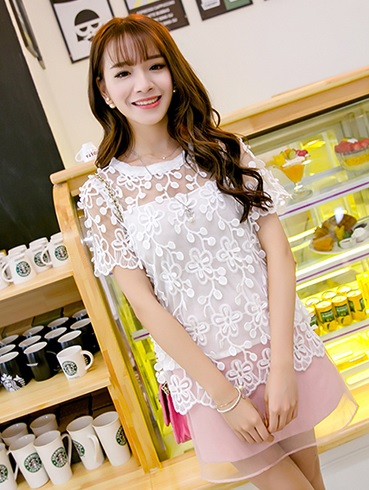 Summer 3D Lace Short-sleeved Shirt Top WHITE