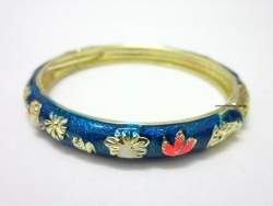 Chinese Floral Oil Painting Fine Bracelet BLUE