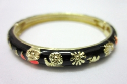 Chinese Floral Oil Painting Fine Bracelet BLACK
