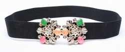 Fashion Colorful Gems Studded Girdle Belt BLACK