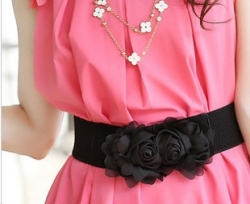 Clearance Corsage Girdle Lovely Sweet Rose Belt BLACK