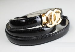 Korea Classic Gold Lacquer PU Leather Belt BLACK