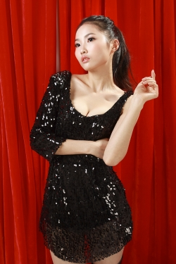 Gorgeous Low Cut Sequined Dancer Dress BLACK