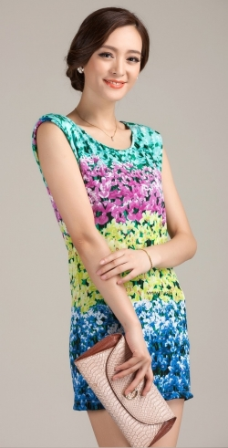 Clearance SALES Elegant Slim Floral Lady Dress YELLOW L Size only