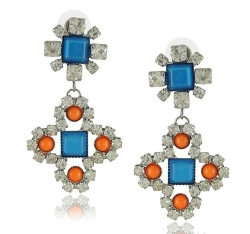 Korea Earrings Geometry Diamond Earrings BLUE