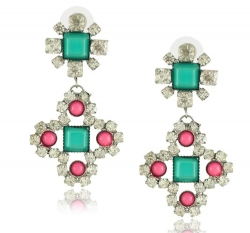 Korea Earrings Geometry Diamond Earrings GREEN