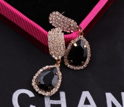 Korea Celebrity Earrings Diamond Earrings BLACK