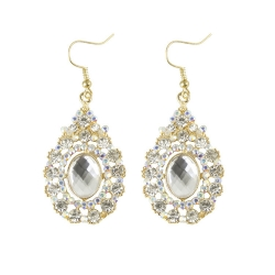 Luxury Alloy Droplets Full Diamond Earrings