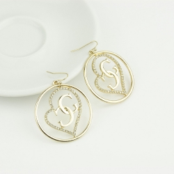 Peach Heart Cool G Letter Earrings GOLD