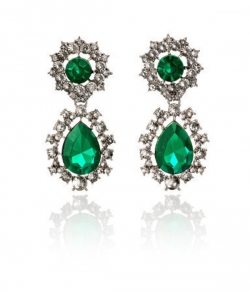 Gorgeous Unique Luxury Emerald Diamond Earrings
