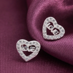 S925 sterling silver sweet LOVE stud earrings