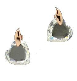 Swarovski Transparent Crystal Gold-plated Love Earrings