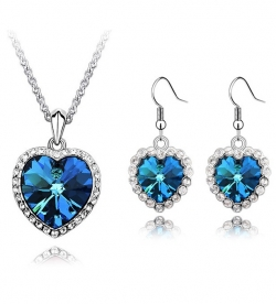 Austrian Ocean Crystal Blue Love Valentines Jewel Set