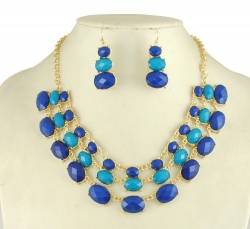 Summer Round Gemstone Necklace Earrings Set