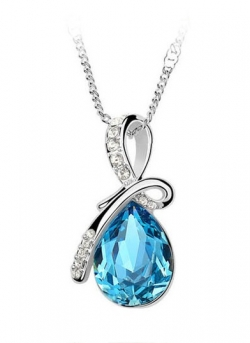 Eternal Love Crystal Droplet Necklace Pendant Set BLUE