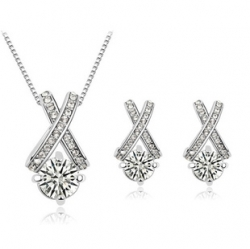 Zirconia 18k Simple Diamond Necklace Earrings Set