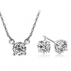 Crystal Cupid Zirconia Necklace Earrings Set