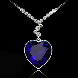 Gem Crystal Titanic Heart Ocean Necklace