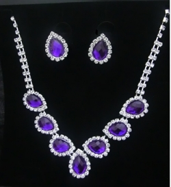 Bridal Classic Elegant Diamond Necklace Earrings Set PURPLE