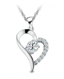 Eternal Love 925 Sterling Silver Necklace Pendant Set WHITE