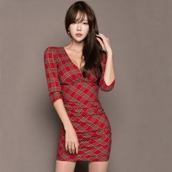PRELOVE KOREAN SEXY TIGHT-FITTING V-NECK PLAID DRESS