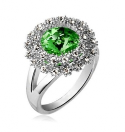 Czech Crystal Round Diamond Ring SILVERGREEN