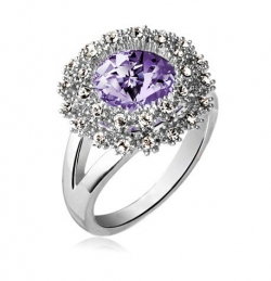 Czech Crystal Round Diamond Ring SILVERPURPLE