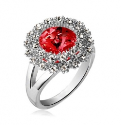 SALES Czech Crystal Round Diamond Ring SILVERRED