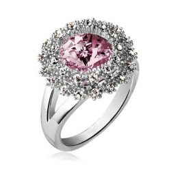 SALES Czech Crystal Round Diamond Ring SILVERPINK