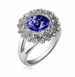 SALES Czech Crystal Round Diamond Ring SILVERBLUE