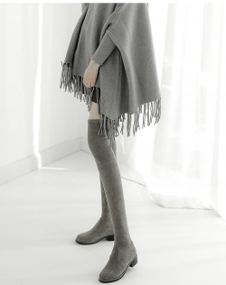 PRELOVE WINTER LEATHER OVER THE KNEE BOOTS INCREASED HEIGHT DARKGREY