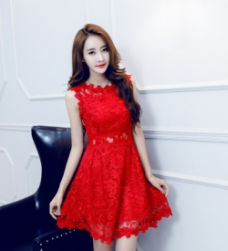 PRELOVE KOREA ELEGANT SLIM SLEEVELESS LACE DRESS