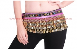 Belly Dance 248Gold Coins Waist Chain Waist Belt DARKPURPLE