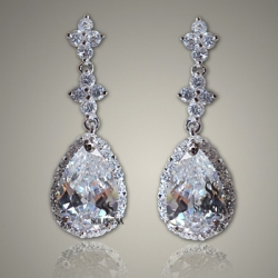 SOLPRESA AUSTRIAN CRYSTAL DIAMOND PLATINUM SILVER BRIDE EARRINGS