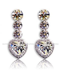 Solpresa Platinum Austrian Crystal Heart-Shaped Diamond Earrings