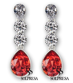 Solpresa Classic Austrian Crystal Drop Earrings RED