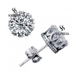 Solpresa Imperial Crown Rhodium AAA White Diamond Earrings