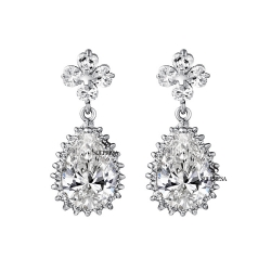 Solpresa Flowers Zircon Bridal Dinner Earrings