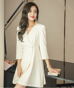 PRELOVE KOREA SLIM V-NECK SUIT COAT DRESS