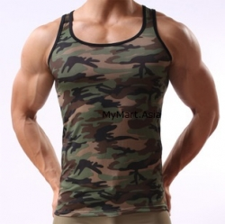 Men Ice Silk Army Camouflage Top S M