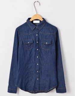 Clearance Pre-Love Korea Leisure Solid Washed Blue Denim Long Sleeve Shirt