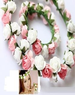 BRIDAL WREATH AND BRACELET WHITE & PINK