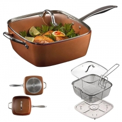 Melaleuca Ceramic Non-Stick Pan Copper Square Pan Induction Chef Glass Lid Fry Basket Steam Rack 4 Piece Set 9.5 Inches